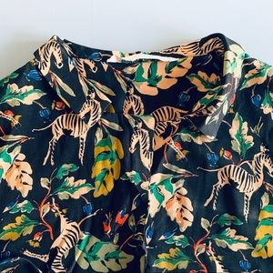 Zara Zebra Tropical Print Button Down Medium